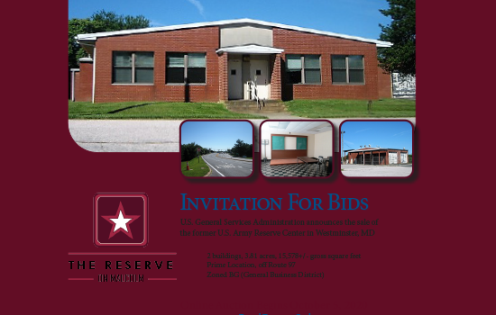 Invitation For Bids U.S. Army Reserve Center in Westminster, MD