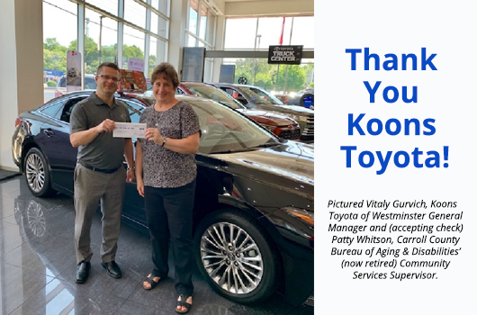 Koons Toyota Donates  To Carroll County Senior and Community Centers
